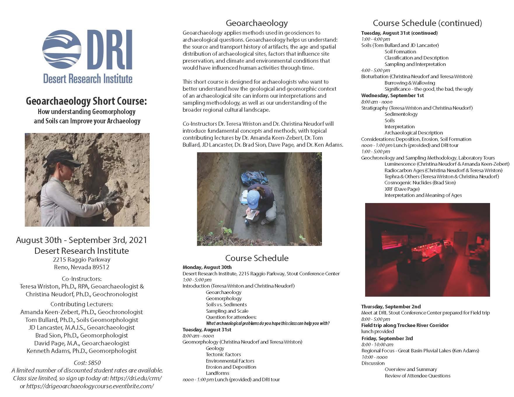 Flyer describing Geoarchaeology Short Course