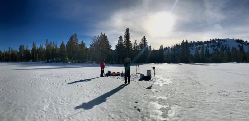 Graduate student Nic Beres conducts field research on surface reflectance of snow and ice. February 2018.