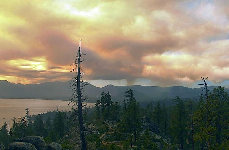 Heavy ash-laden smoke billowed into the Lake Tahoe basin during the Caldor Fire