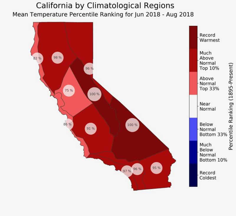 Map of California created with California Climate Tracker tool.