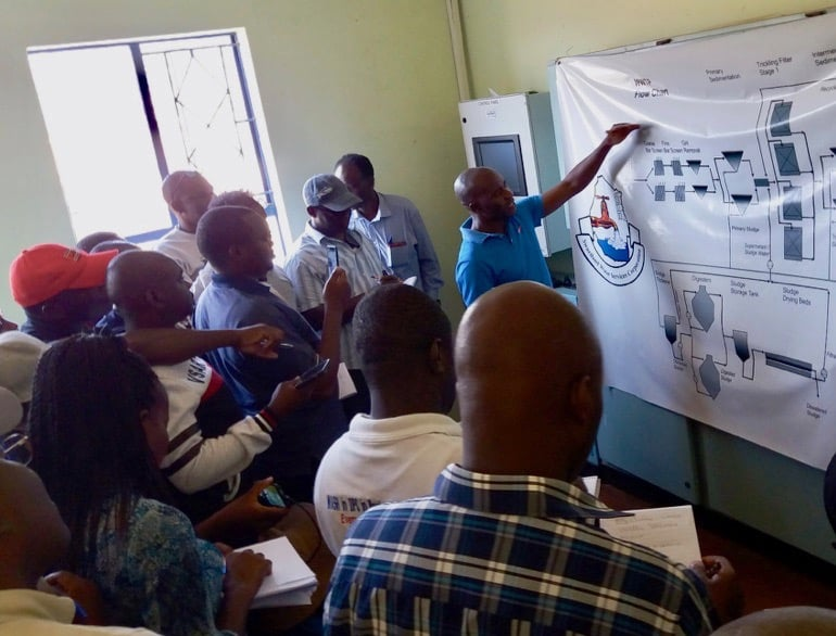 Students from DRI's WASH Capacity Building Program on a University of eSwatini University-led field trip to the Mbabane Wastewater Treatment site. Credit: Braimah Apambire/DRI.