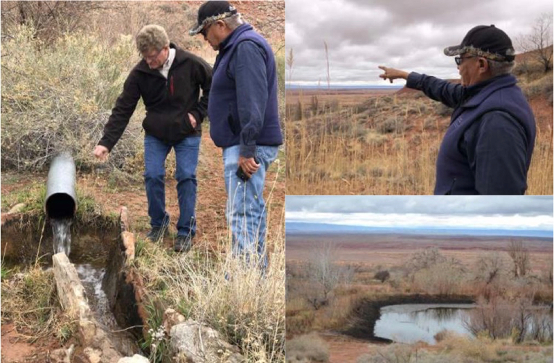 Navajo FRTEP agent Grey Ferrell and Co-PD Trent Teegerstrom inspecting springs near Tuba City.