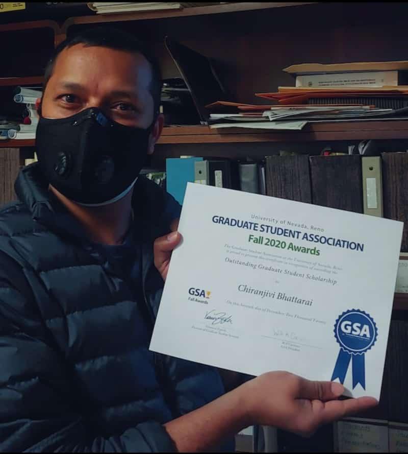 Chiranjivi Bhattarai wins an award from UNR