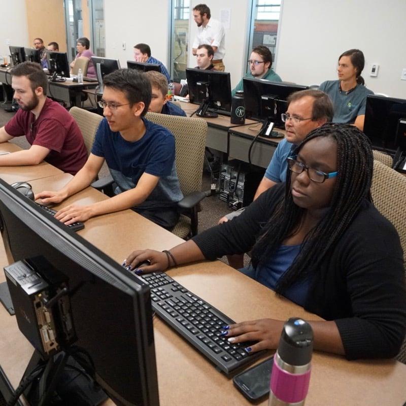 Interns participate in the first ever DRI Cybersecurity Internship Program. Fall 2018.