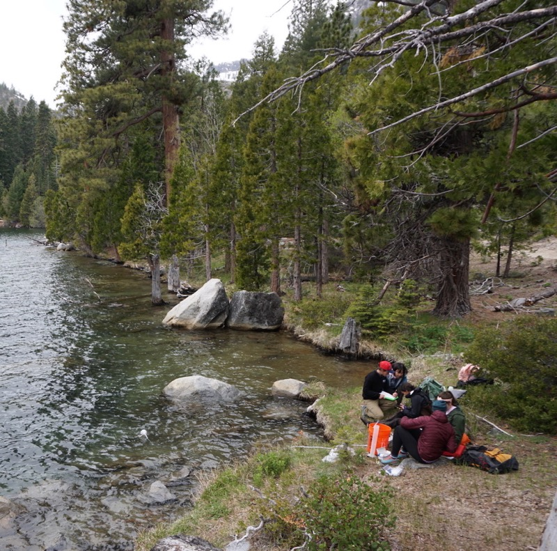 Research team sets up equipment at Lake Tahoe.
