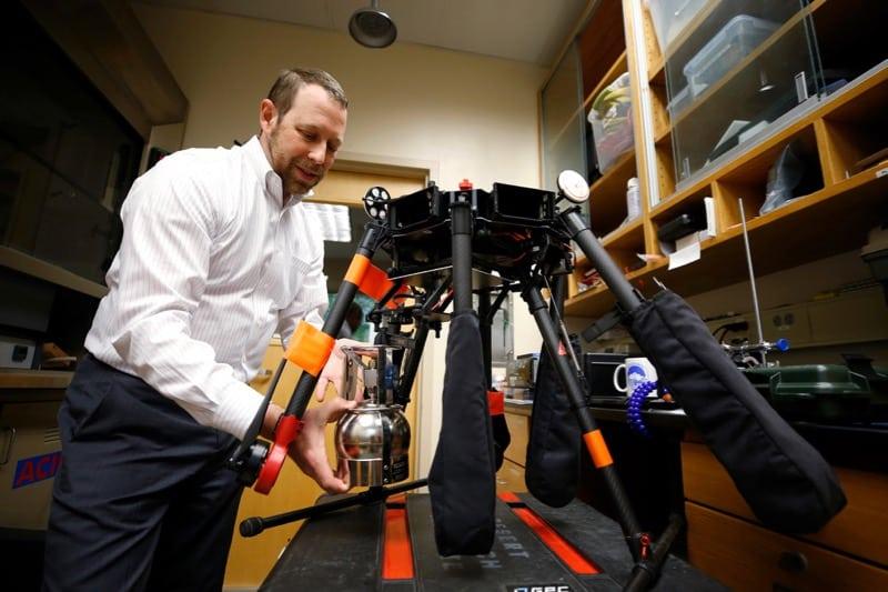 Adam Watts and a drone at DRI in Reno.