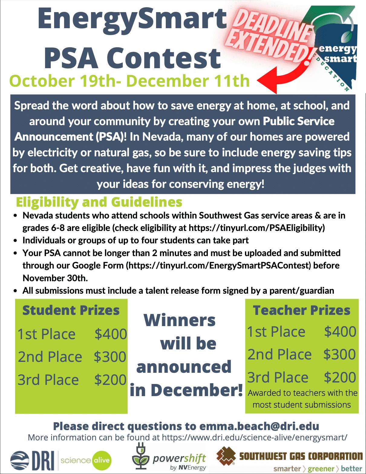 EnergySmart PSA Contest Flyer