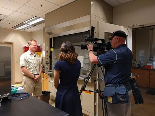 Fox 11 reporter and cameraman interviews Dr. Khlystov