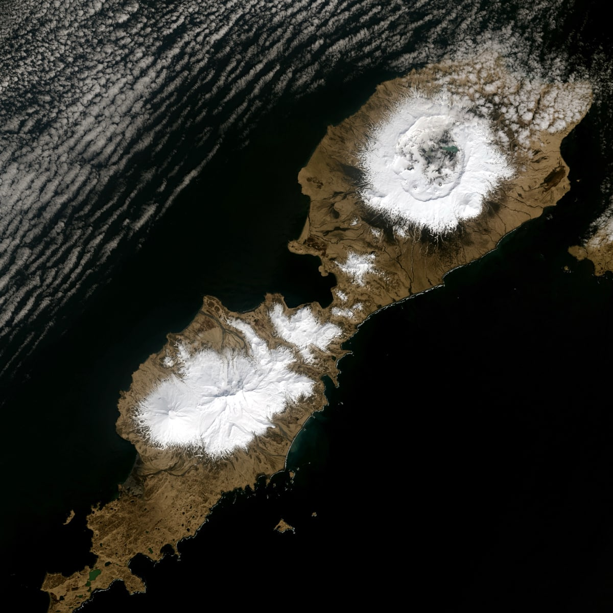 Landsat Image of Alaska's Okmok Caldera in the Aleutian Islands