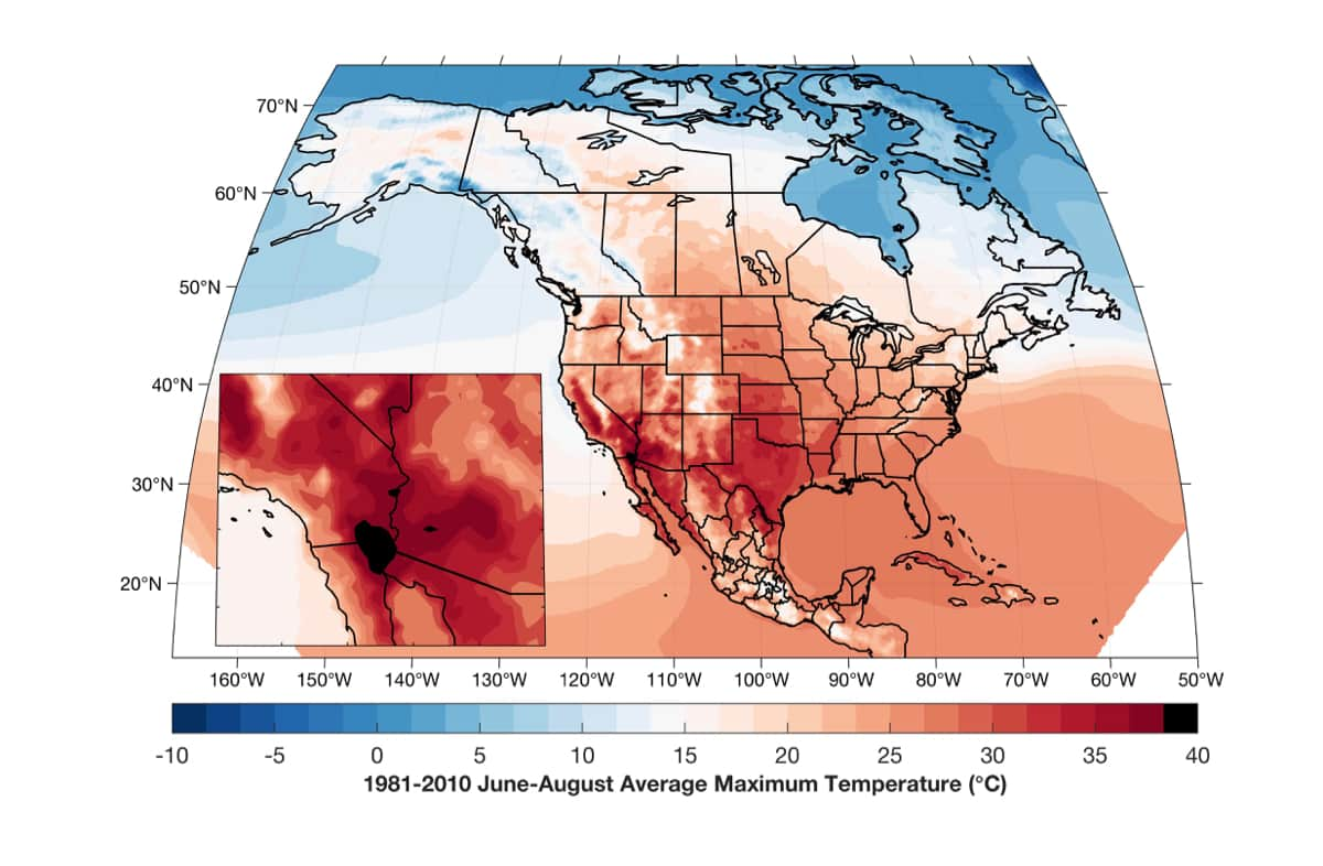 A map of summer maximum near-surface temperatures in Imperial Valley, CA