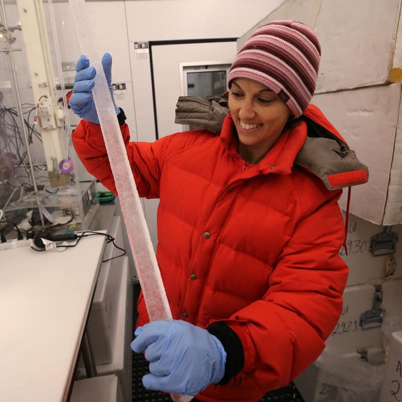 Dr. Monica Arienzo works on a 30,000 year old ice core in the ice lab at Desert Research Institute, in Reno, Nev., on Wednesday, Feb. 21, 2018. Photo by Cathleen Allison/Nevada Momentum