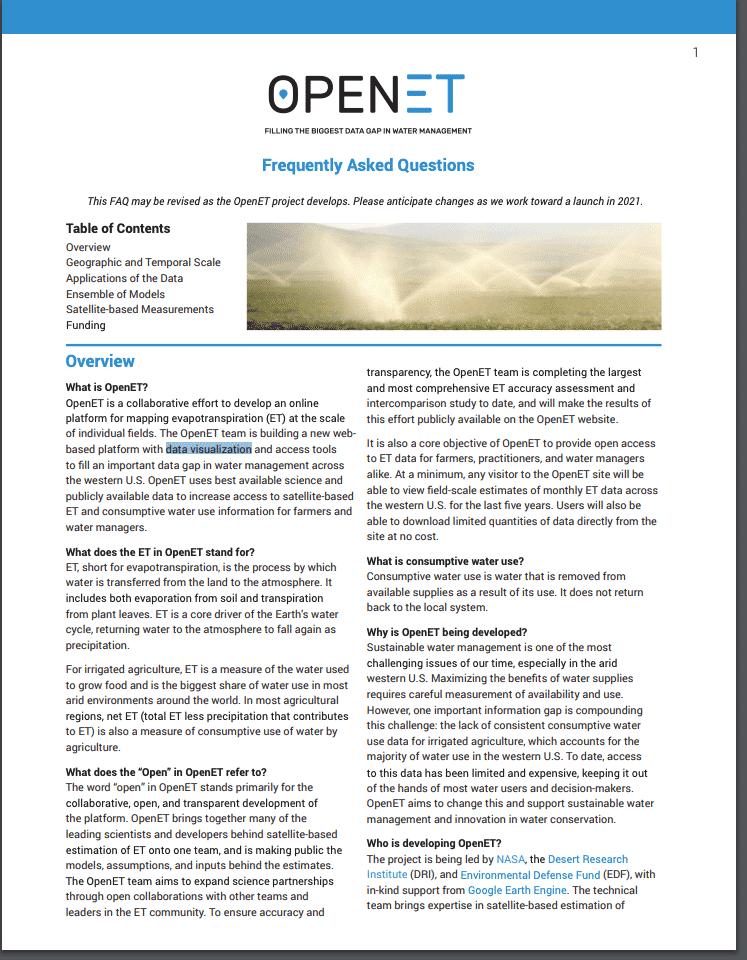 OpenET FAQ page
