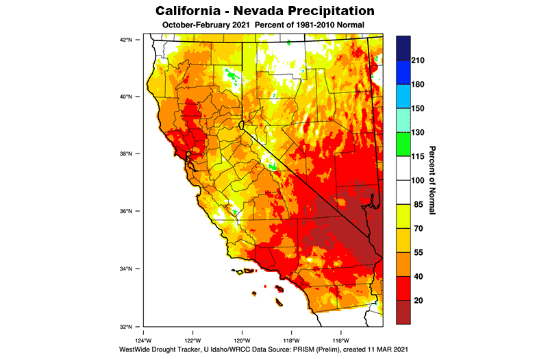 Precipitation map of California and Nevada for winter 2020-2021 shows below-average precipitation levels