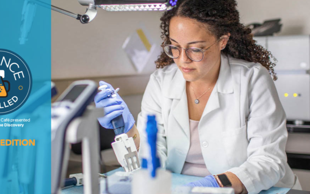 Banner image for Science Distilled event shows woman working in laboratory