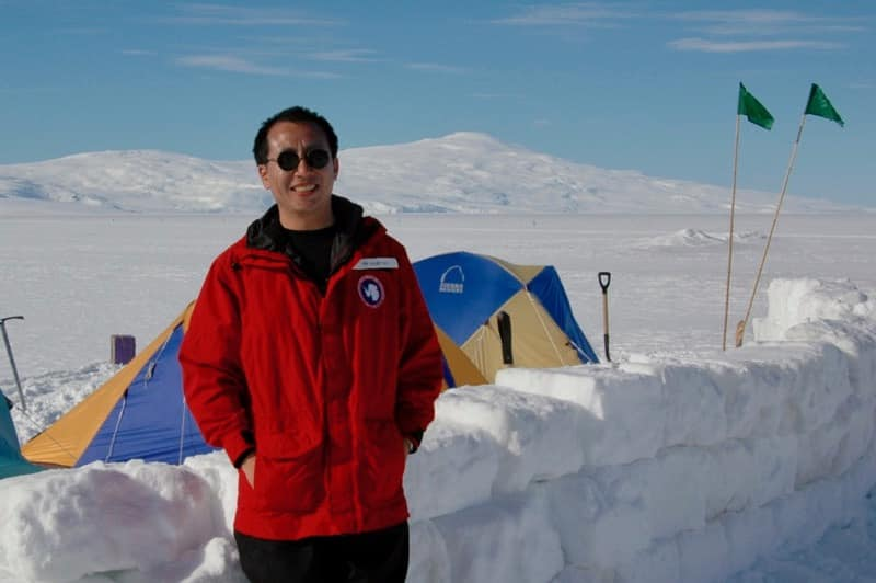 Henry Sun at work in Antarctica, January 2005.