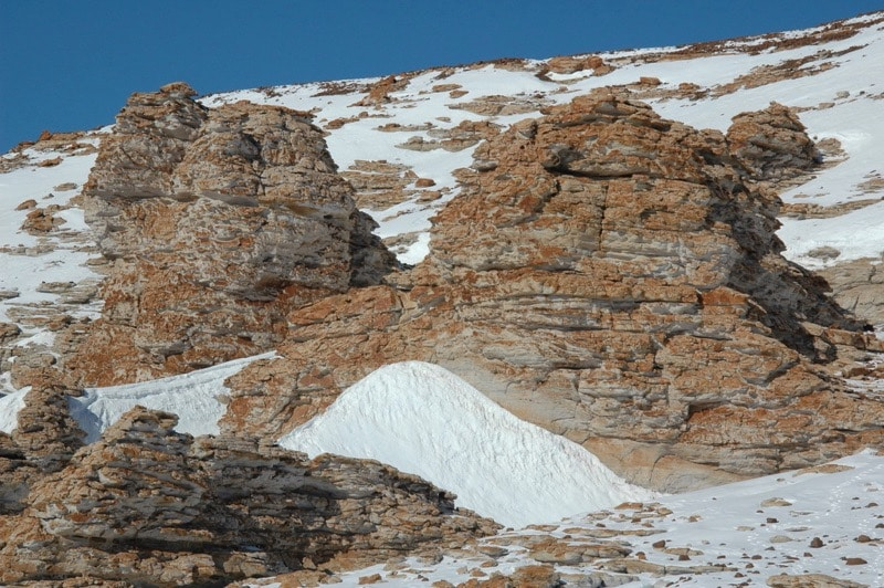 An outcrop of Antarctic sandstone at one of Henry Sun's field sites.