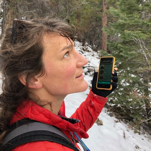 DRI scientist Meghan Collins collects data from her smartphone for the Tahoe Rain or Snow project